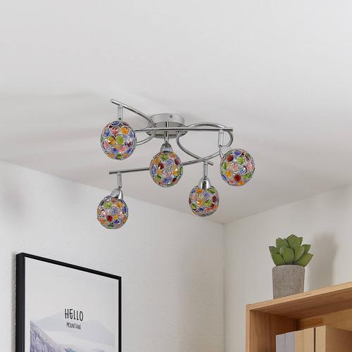 Lindby Dottys Deckenlampe mit fünf bunten Schirmen