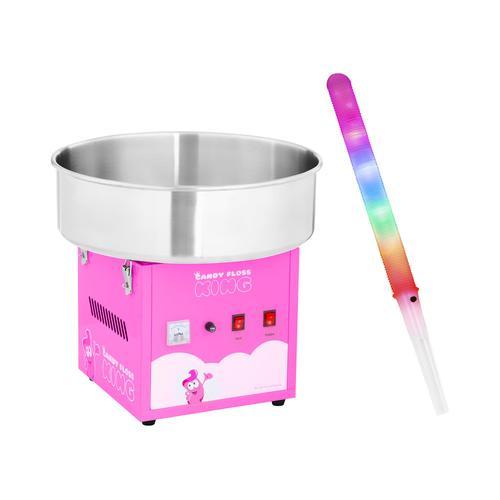 Royal Catering Zuckerwattemaschine mit Zuckerwattestäbchen LED - 52 cm - 1.200 W - 50 Stk. - pink RCZK-1200-R SET2