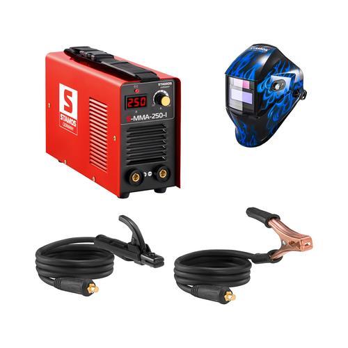 Stamos Basic Schweißset Elektroden Schweißgerät - 250 A - 230 V - IGBT + Schweißhelm – Sub Zero