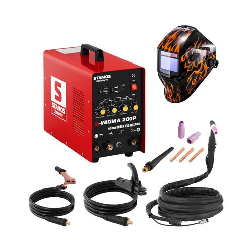 Stamos Basic Schweißset WIG Schweißgerät - 200 A - 230 V - Puls + Schweißhelm – Firestarter 500