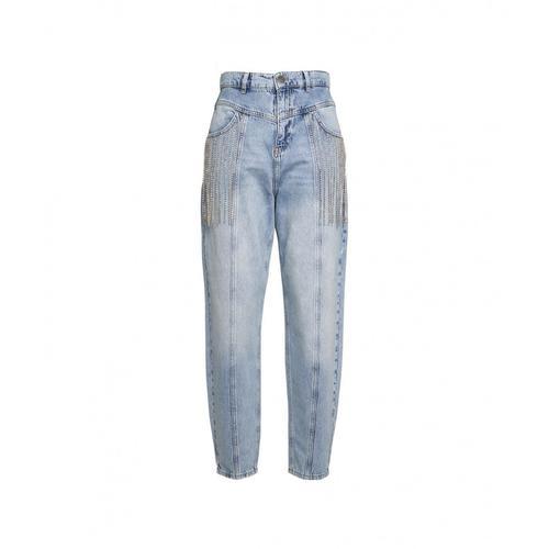 Twin Set Damen Jeans mit Strass-Applikationen Blau