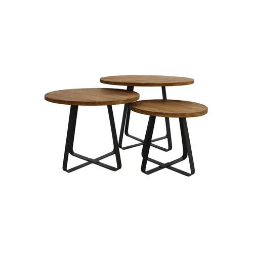HSM Couchtisch Set Junction - alt Teak / Eisen (3er-Set)