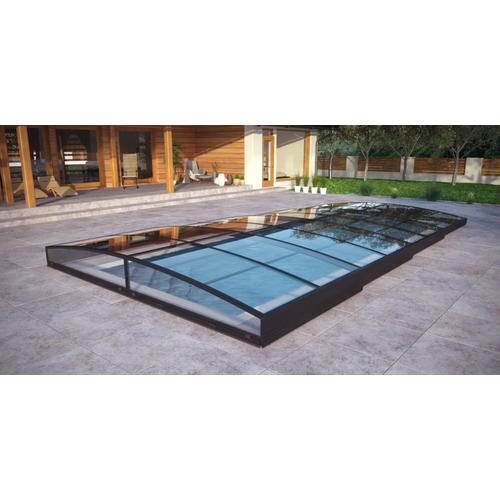 Poolüberdachung / Schwimmbeckenüberdachung mit einseitiger Schiene SkyCover® Neo 4.0x7.4m