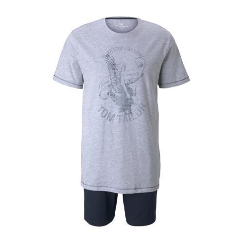TOM TAILOR Herren Maritimes Pyjama-Set, grau, Gr.56/XXL