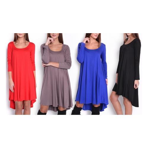Asymmetrisches Damen-Kleid : Rot/ Gr. S-M