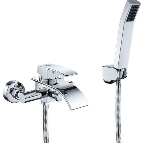 AuraLum Wannenarmatur Chrom Wasserfall Badewanne Wasserhahn Standarmatur Badewannenarmatur