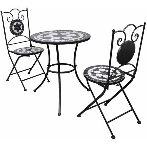 YOUTHUP 3-tlg. Bistro-Set Keramikfliese Schwarz/Weiß