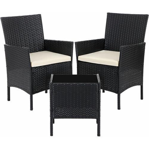 Songmics - Gartenmöbel aus Polyrattan, 3er Set, Gartentisch mit 2 Stühlen, Beistelltisch mit
