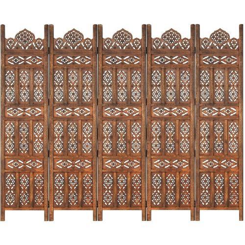 5-tlg. Raumteiler Handgeschnitzt Braun 200×165 cm Mangoholz