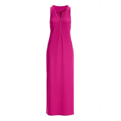 Boston Proper - Beyond Travel Zipper Maxi Dress - Hot Pink - Xx Small
