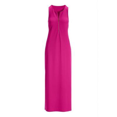 Boston Proper - Beyond Travel Zipper Maxi Dress - Hot Pink - X Large