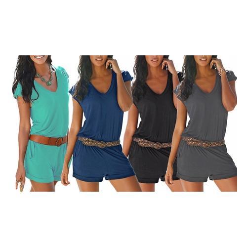 Damen Strand-Jumpsuit: Blau / S / 1