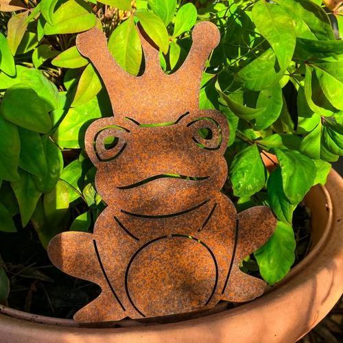 Gartenstecker Froschkönig, Edelrost