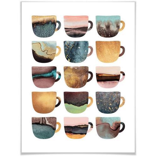 Wall-Art Poster »Kaffeetassen Natur«, Geschirr & Besteck (1 Stück)