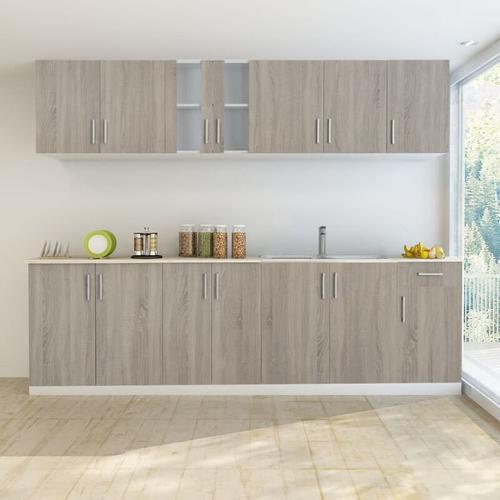 Küchenzeile mit Spülenunterschrank 8- tlg. Eichen-Look - Youthup