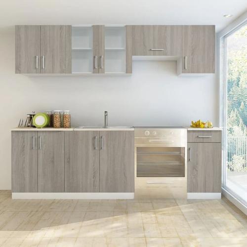 Küchenzeile 7-tlg. Eichen-Look - Youthup