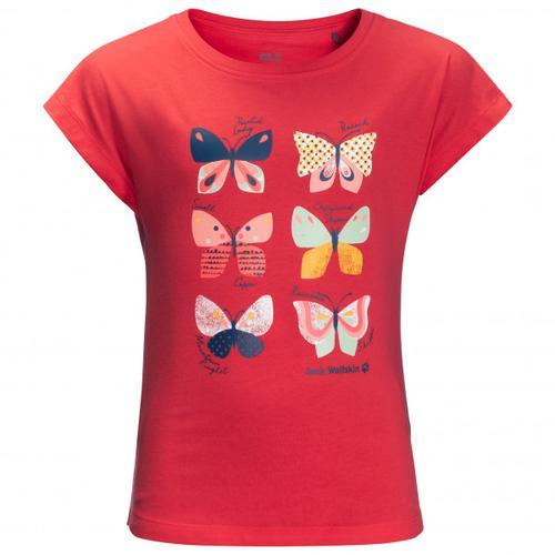 Jack Wolfskin - Girl's Butterfly T - T-Shirt Gr 128 rot/rosa