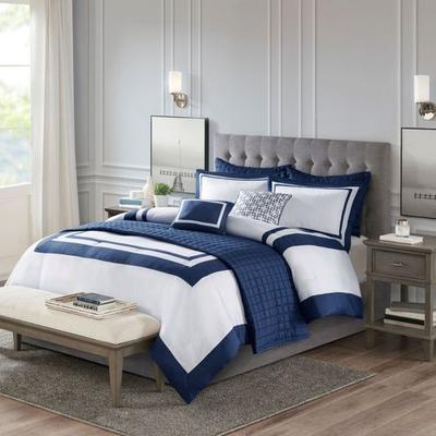 Heritage Comforter Bed Set Navy, King, Navy