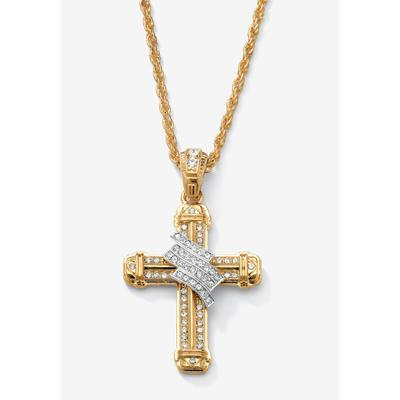 """Men's Big & Tall Gold Tone Wrapped Cross Pendant 24"""" Chain by PalmBeach Jewelry in Gold"""