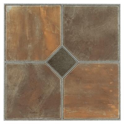 "Sterling 12"" x 12"" Self Adhesive Vinyl Floor Tile - 45 Tiles/45 sq. Ft by Achim Home Dcor in Rustic Slate"