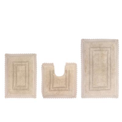 Opulent 3-Pc. Bath Mat Set by Home Weavers Inc in Linen (Size 3 RUG SET)