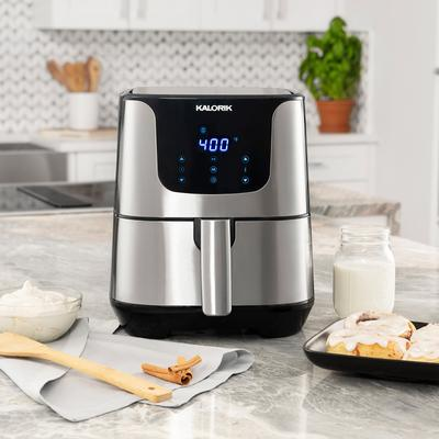 Stainless Steal XL Smart Fryer Pro with Trivet by Kalorik in Stainless Steel