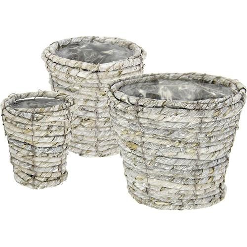I.GE.A. Weidenkorb Weidenkorb, 3er Set grau Pflanzgefäße Blumenvasen Wohnaccessoires