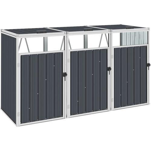 Vidaxl - Mülltonnenbox für 3 Mülltonnen Anthrazit 213×81×121 cm Stahl