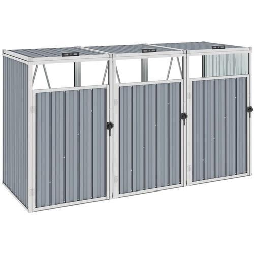 Vidaxl - Mülltonnenbox für 3 Mülltonnen Grau 213×81×121 cm Stahl
