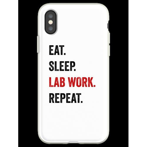 Essen Sie Schlaflaborarbeit Wiederholen Sie Labortechniker lustig Flexible Hülle für iPhone XS