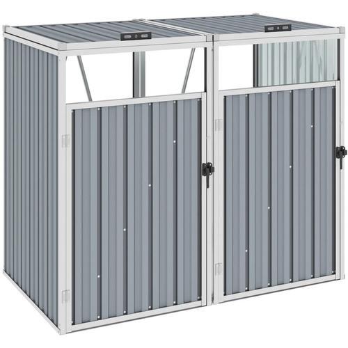 Vidaxl - Mülltonnenbox für 2 Mülltonnen Grau 143×81×121 cm Stahl
