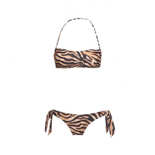 4Giveness Damen Bikini-Bandeau und Slip Exchange Leo Braun