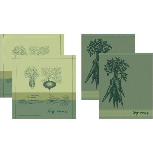 DDDDD Geschirrtuch Greens, (Set, 4 tlg., Combi-Set: bestehend aus 2x Küchentuch + Geschirrtuch) grün Geschirrtücher Küchenhelfer Haushaltswaren
