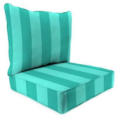 Outdoor 2PC Deep Deat Chair Cushion-PREVIEW LAGOON - Jordan Manufacturing 9740PK1-6639D