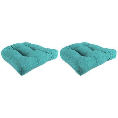 """Set of 2 Outdoor 18"""" Wicker Chair Cushions-TORY CARIBE RICHLOOM - Jordan Manufacturing 9915PK2-6265D"""