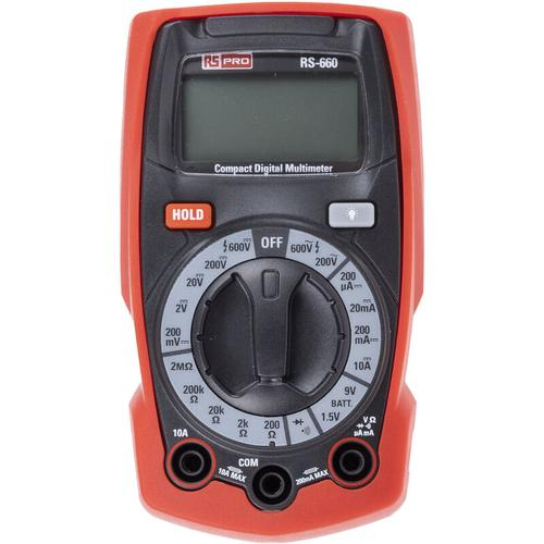 RS PRO RS-660 Multimeter, Tragbar-, 600V ac / 10A ac, 2M?, Kat.III