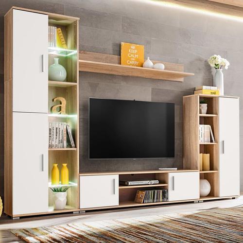 TV-Wohnwand mit LED-Leuchten Sonoma Eiche und Weiß - Youthup