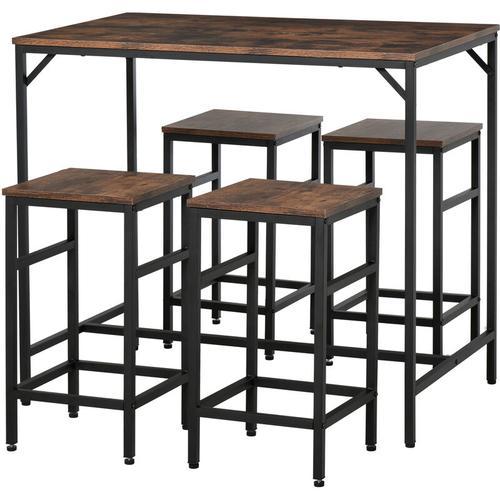 ® Bartisch-Set Stehtisch mit 4 Barhockern 5-teiliges Tischset Stahl Braun - Homcom