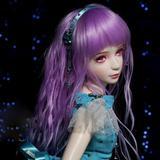 Perruque violette ondulée de che...