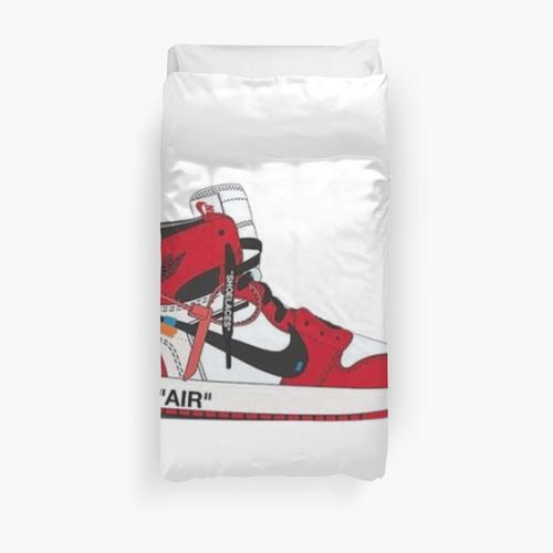 red and white sneaker Duvet Cover