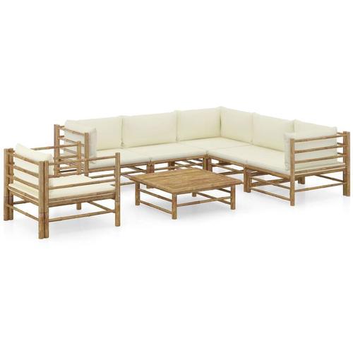 7-tlg. Garten-Lounge-Set mit Cremeweißen Kissen Bambus