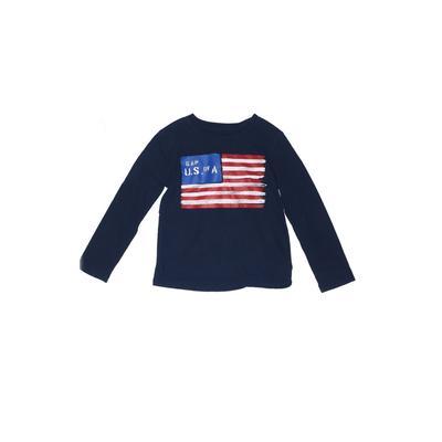 Gap Kids - Gap Kids Long Sleeve T-Shirt: Blue Solid Tops - Size X-Small