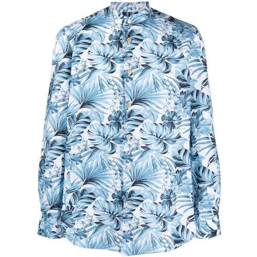 Kiton Hemd mit Blatt-Print