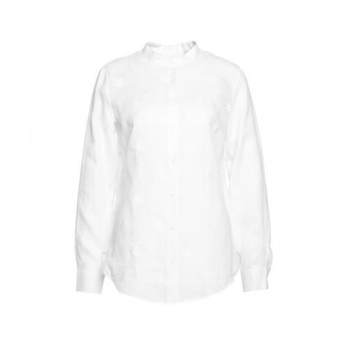 Himons Damen Bluse mit Stickerei Weiß