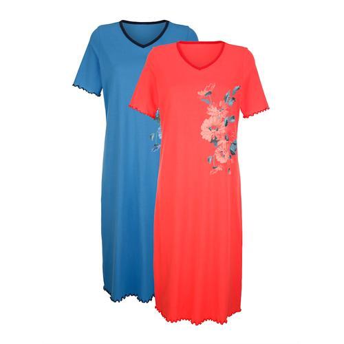 Nachthemd Harmony Koralle/Blau