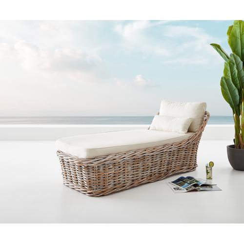 DELIFE Gartenliege Florenz aus White Washed Rattan 90x180 cm Kissen, Gartenmöbel