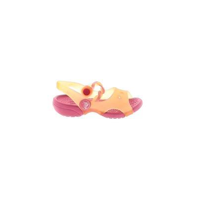 Crocs Sandals: Orange Solid Shoes - Size 5