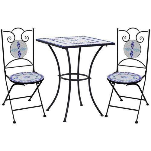 YOUTHUP 3-tlg. Bistro-Set Mosaik Keramik Blau und Weiß