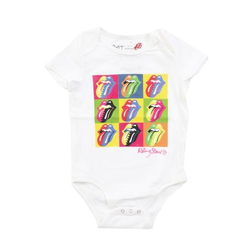 The Rolling Stones - Two Tone Tongues Babygrow White - Kids