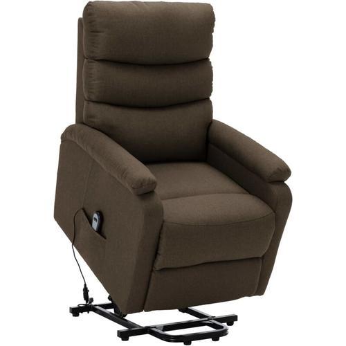 Sessel mit Aufstehhilfe Stoff Braun